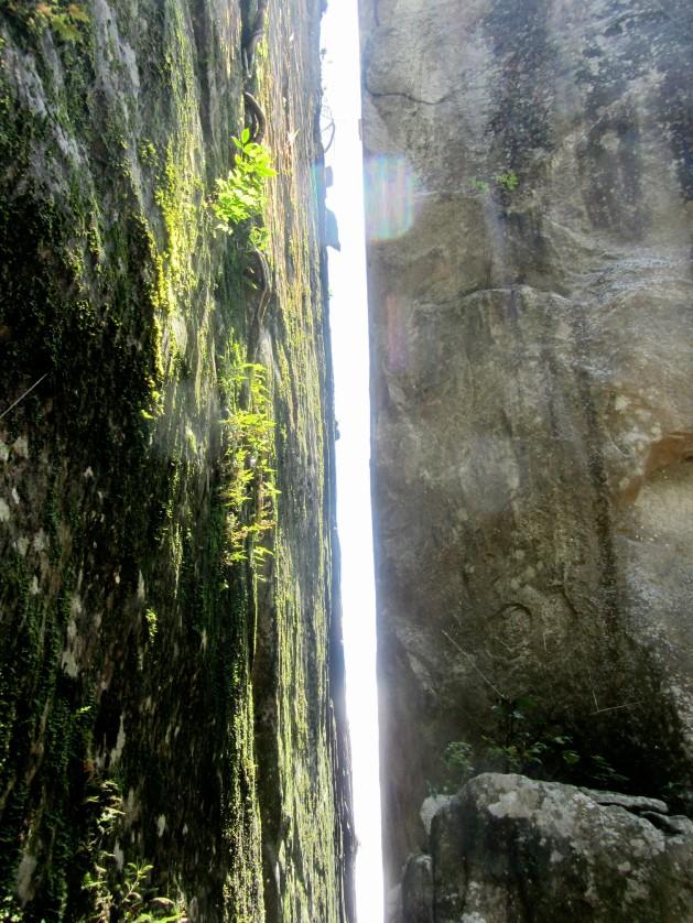 Narrow gap between 2 huge rocks